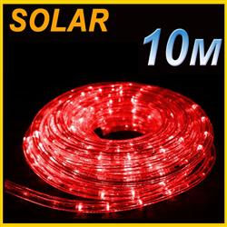 SOLAR LED 10M PVC TUBE ROPE LIGHT RED