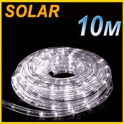SOLAR LED 10M PVC TUBE ROPE LIGHT Cool WHITE