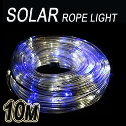SOLAR LED 10M PVC TUBE PARTY ROPE LIGHT - MULTI(WHITE&BLUE)