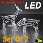 LED SET Of 2  Reindeer Motif Christmas Rope Light 3D