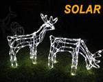 SOLAR LED SET Of 2  Reindeer Motif Christmas Rope Light 3D