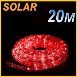 SOLAR LED 20M PVC TUBE ROPE LIGHT RED