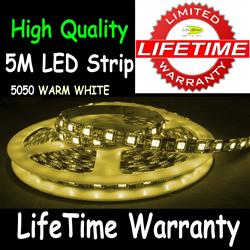 5M 5050 LED Flexible Strip Light 30/M Warm White